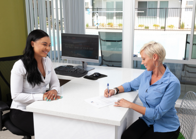 leasing officer and client