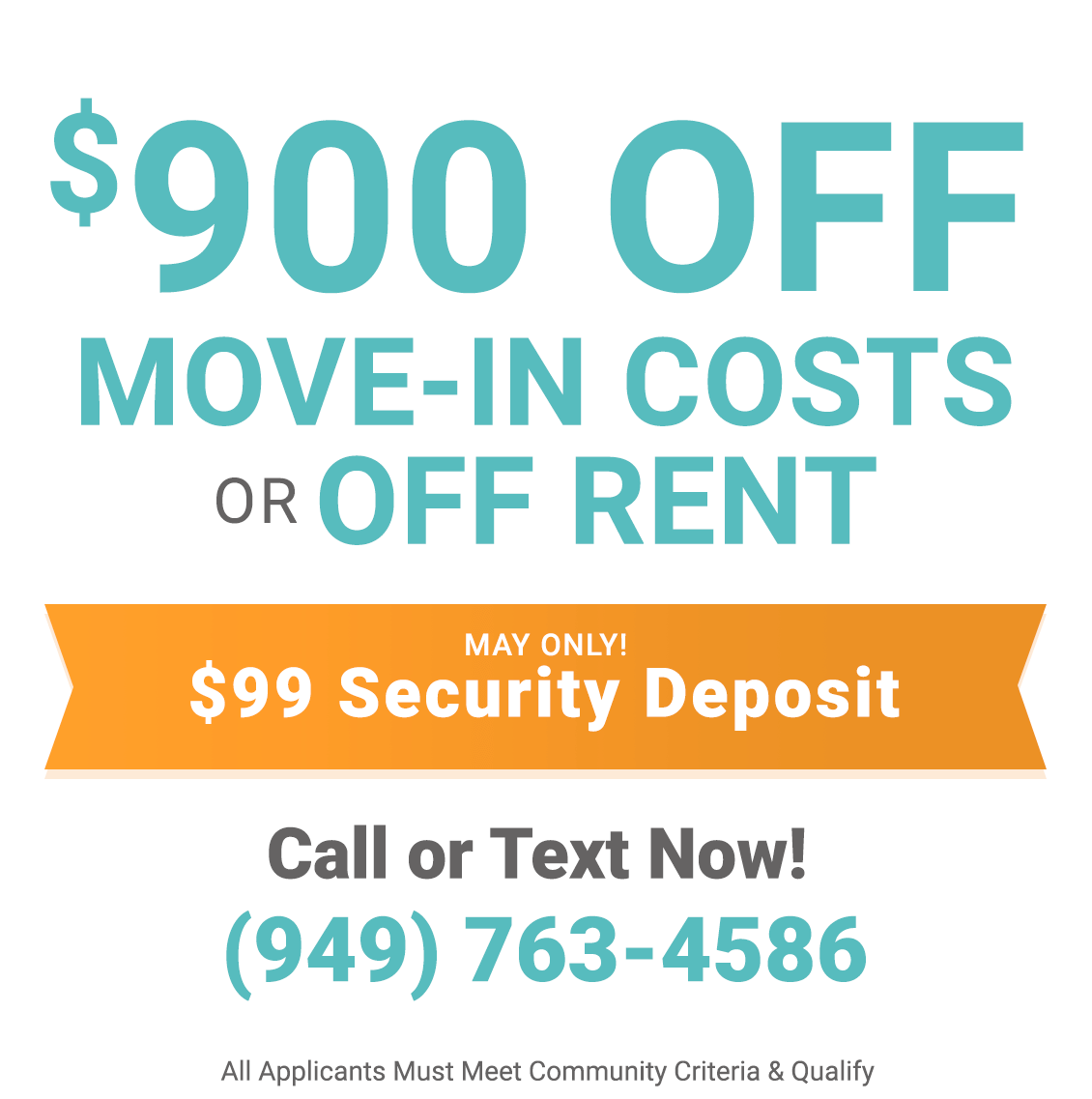 $900 off move-in costs or off rent only during May